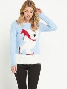 Polar Bear Eyelash Christmas Jumper in Light Blue #noveltyxmasjumpersuk