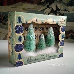 Magia Mia: Shiny Brite Box Diorama with Aqua Bottle Brush Trees & Vintage Bingo Card