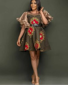 Free Styled Ankara Gown Ankara Styles For Women, Ankara Short Gown Styles, Short Gowns, African Maxi Dresses, Ankara Dress, African Shirts For Men, Lace Evening Dresses, Shift Dresses, Latest Aso Ebi Styles