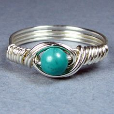 Turquoise Sterling Silver Ring Choice of 56 Crystals and Gemstones. $14.00, via Etsy.