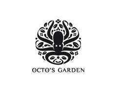 logo design emblem typography ink black white octopus animal aquatic garden