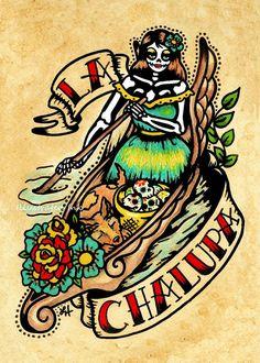 Día de los muertos tatuaje Art LA CHALUPA por illustratedink, $10.00