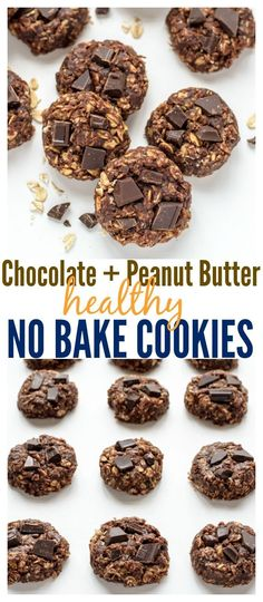 Clean Eating Chocolate Peanut Butter No Bake Cookies. These cookies don't taste healthy at all! You'll never need another no bake cookie recipe. #nobake