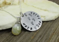 Walk by Faith Hand Stamped Necklace with Lemon Moonstone