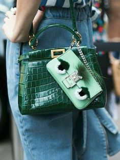 Fendi Micro 'Peek-A-Boo' in Emerald Croco Leather with Fendi Bag Charm Fendi Mini Bag, Fendi Bag Bugs, Fendi Bags, Fashion Mode, Fashion Bags, Fendi Micro Peekaboo, Street Style Inspiration, Strawberry Blonde, Tote Bag
