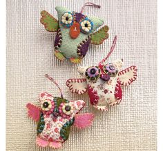 Hand-stitched felt and fabric owl ornaments
