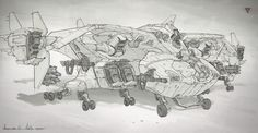 Here are some of the more refined line sketches during a fast but fun run with Platige Image.  I had the task to explore the design of the main antagonist´s Gunship for the short film ´´Polish Legends: Dragon´´  https://www.youtube.com/watch?v=1J_Y12RqeLM