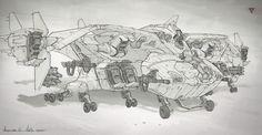 ArtStation - Dragon Gunship concepts, Michal Kus