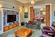 Residential for sale | Trade Me Property Built In Tv Cabinet, Timber Staircase, Walk In Wardrobe, My Property, Tv Cabinets, Glass House, Master Suite, Bookshelves, Living Rooms