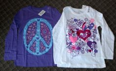 New 2 Girls Children's Place Size 7/8 Long Sleeve Shirts - Rock 'N Roll & Love