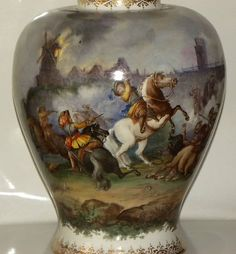 Antique German Dresden Porcelain Vase Hand Painted Figures And Battle Scenes
