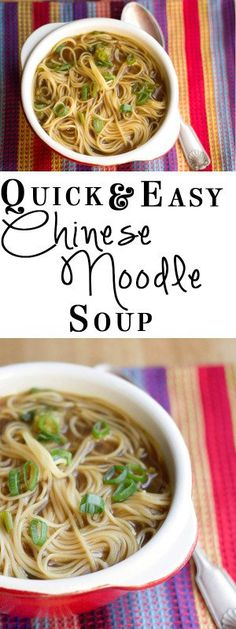 QUICK & EASY CHINESE NOODLE SOUP - Erren's Kitchen - This recipe is not only quick and easy, but it's delicious too! If you make this soup, you'll never make the instant kind again! Quick & Easy Chinese Noodle Soup Smart Little Cookie Think Food, Love Food, Asian Soup, Cooking Recipes, Healthy Recipes, Cooking Tips, Fast Recipes, Healthy Food, Quick Soup Recipes