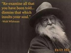 Re-examine all that you have been told... dismiss that which insults your soul #WaltWhitman