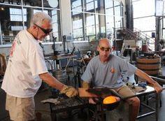 Bob Cox assiting Brook White at Flame Run Glass Studio