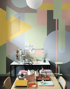 80s geometric pastels, strong look indeed. Could it complement mid century style?