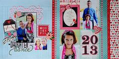 Double page Father-Daughter dance layout created using @Pebbles Inc. #YoursTruly collection by Suzanna Lee