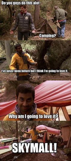 Tom Haverford does camping right. Parks And Recreation Skymall and DJ Roomba! Parks And Rec Memes, Parks N Rec, Parks And Recreation, Tom Haverford Quotes, Mad Tv, Parks Department, Tv Show Quotes, Tv Shows Online, I Love To Laugh