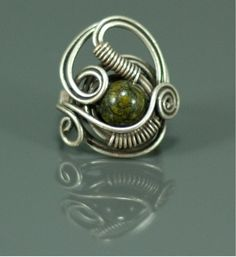 Jasper  Ring,  Adjustable ring- Tiger eyes green jasper  Ring-wire wrapped jewelry handmade. $20.00, via Etsy.