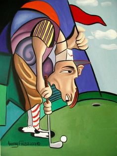 Par For The Course    Beautiful Original Museum Quality Open Edition print/ poster By International American Artist Anthony Falbo    Size: 18x 24    Excellent Condition    Medium :Fine art watercolor paper         ABOUT FALBO    Anthony Falbo's art has a very noticeable and unique artistic flair that today is recognized and collected throughout the world. With a steady demand internationally the value of owning an authentic Falbo has soared. His Cubestraction series has, and still continues…