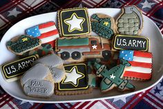 "LOVE the Army cookies! military tanks, dogtags, star, airplane-- or would be cute for a boys ""army"" party Army Birthday Parties, Army's Birthday, Birthday Cookies, Military Party, Military Love, Cute Cookies, Cupcake Cookies, Sugar Cookies, Cupcakes"
