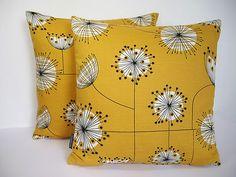 Miss Print Vintage/Retro 50s 60s Scandinavian print fabric Cushion Cover-Yellow | eBay
