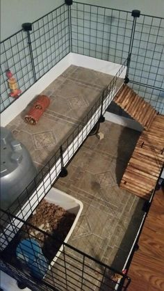 My husband made this cage for our Granddaughters guinea pig. He put peel & stick tile for the floor and it is a quick clean up . love it :)