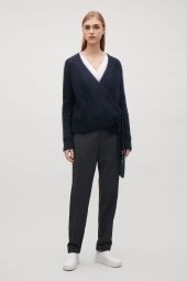 COS image 5 of Wool-mohair wrap cardigan  in Navy