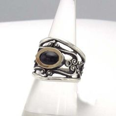 Silver, jet and gold ring. Handmade in Galicia. Artcraft of The Way of Saint James. Tax free $62.90