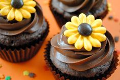 Royal Icing Cupcake Topper-  Sparkling Wild Sunflowers with Brown Milk Chocolate M Center (24). $15.00, via Etsy.