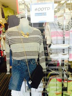 Loving our #ootd! Top by Ecote, size XS, $14. Jeans by Bullhead, size 3/4, $12. Purse, $12. Necklace, $4. Shoes, size 6, $10