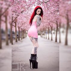 It doesen't get much prettier than this All that pink  Photographer: @danielkopp_photo Dress: @pandoradeluxe #latex #rubber #dress #fetishmodel #latexmodel #pink #cherryblossom #flowers #spring #redhair #highheels #heels #boots #pleaser #piercings #alternative #altgirl #tattoomodel #tattoos #inked #girlswithink #sleeve #legtattoo #inkedbabes #armtattoo #thightattoo #girl #model #starfucked