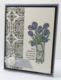 Wisteria Wonder and Basic Black Vintage Tulips Card