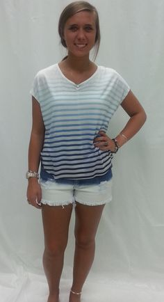 bleached shorts with cute stripped shirt!