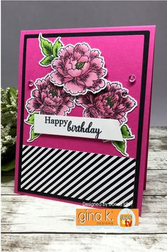 Stamps and Dies: Stippled Flowers Ink: GKD Black Onyx, Memento Black Pure GKD Luxury Card Stock: Black and Passionate Pink Patterned Paper: Petite Patterns Other: Copics and Dew Drops