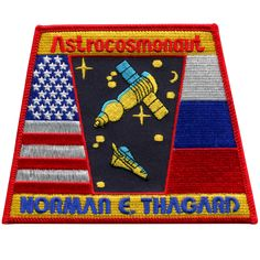 This patch was worn by Dr. Norm Thagard, primary NASA Astronaut Researcher, on his record 115-day stay aboard the Russian Space Station MIR.