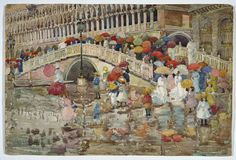 Maurice Brazil Prendergast (1858 — 1924, USA) Umbrellas in the Rain. 1899 watercolor on paper. 35.4 x 53 cm (13 15/16 x 20 7/8 in.)
