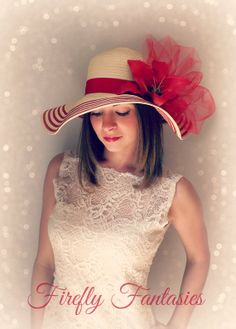 Red Lily Sun Hat -Tan Ivory Stripe Floppy Hat flower Kentucky Derby Garden  Bridal Party or Weddings wide brim straw hat beach Shower ecdaf247150