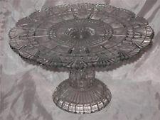 ANTIQUE 1888 EAPG PATTERN GLASS BLOCK & FAN ROMEO CAKE STAND RICHARD & HARTLEY