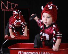 Razorback Hat- Woo Pig Sooie - Red Black and White Crochet Hog Hat with or Without braided tails/ Fan Favorite