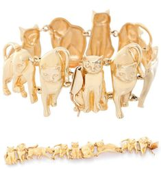 View this item and discover similar for sale at - Ardian Yellow Gold Feline Motif Bracelet - . Nine feline figures in various positions in alternating matte and polished finished. Rose Jewelry, Cat Jewelry, Jewelery, Fashion Bracelets, Jewelry Bracelets, Bangles, Magical Jewelry, Cat Necklace, Diamond Bracelets