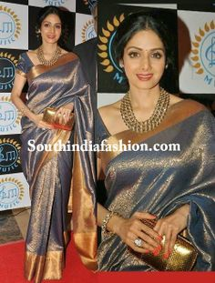 Sreedevi in Gorgeous Grey Bridal Saree Celebrity Sarees, Designer Sarees, Bridal Sarees, Latest Blouse Designs 2014 South India Fashion