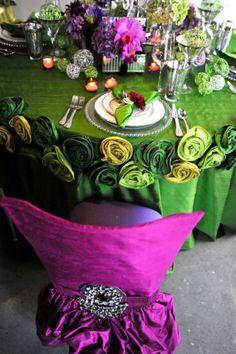 Purple and Green Jewel Tone Wedding Table Decor Wedding Table Flowers, Wedding Chairs, Wedding Decorations, Wedding Tables, Wedding Reception, Wedding Ideas, Jewel Tone Wedding, Green Wedding, Beautiful Table Settings
