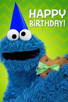 Happy Birthday Cookie, Birthday Cookies, Happy Bday Wishes, Birthday Wishes, Birthday Messages, Birthday Greetings, Birthday Quotes, Cookie Monster Quotes, Sesame Street Muppets
