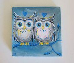 Original Owl Painting True Blue Love Owls 5x5 Art Canvas
