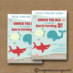 Under the Sea Ocean Birthday Party Invitation Swim Party DIY PRINTABLE Cute Sea Animals Shark Whale Turtle Fish Invitation for Boy or Girl