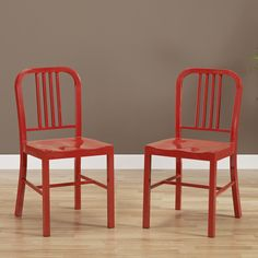 Add a touch of flair to any setting with this set of two red metal side chairs. These chairs come fully assembled and feature a red powder coating and a contoured seat for style and comfort.