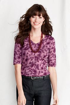 Women's Elbow Sleeve Print Supima Modal V-neck Top from Lands' End