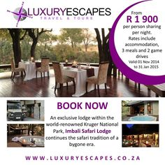 Imbali Safari Lodge, an exclusive lodge within the world-renowned Kruger National Park,  now ONLY R 1900 per person sharing per night. Includes accommodation, 3 meals and 2 game drives. T&C Apply. Contact Luxury Escapes www.luxuryescapes.co.za