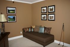 Love this paint color for our basement:  New Chestnut by Behr