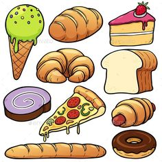 Find Vector Illustration Bakery Set stock images in HD and millions of other royalty-free stock photos, illustrations and vectors in the Shutterstock collection. Thousands of new, high-quality pictures added every day. Cute Food Drawings, Art Drawings For Kids, Colorful Drawings, Drawing For Kids, Pizza Vector, Food Clipart, Food Cartoon, Food Pyramid, Play Food